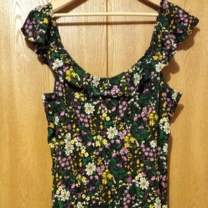 Old Navy Fit & Flare Ruffle Trim Black Floral Cami